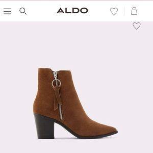 ALDO brown suede booties with zip detailing SIZE 9
